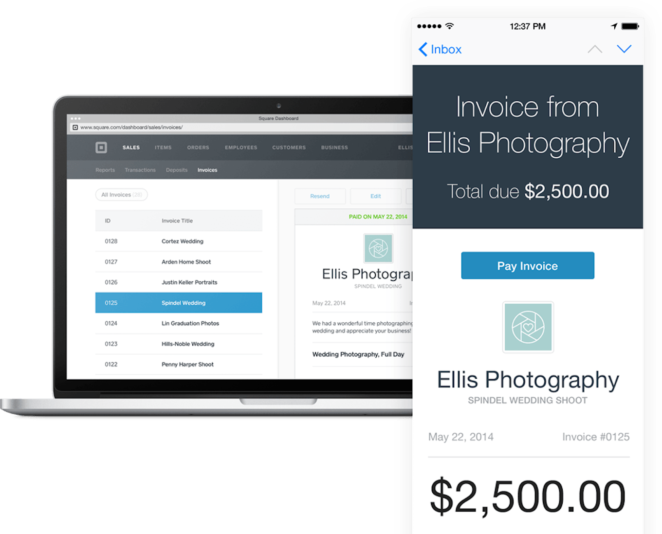 Square invoices payment method