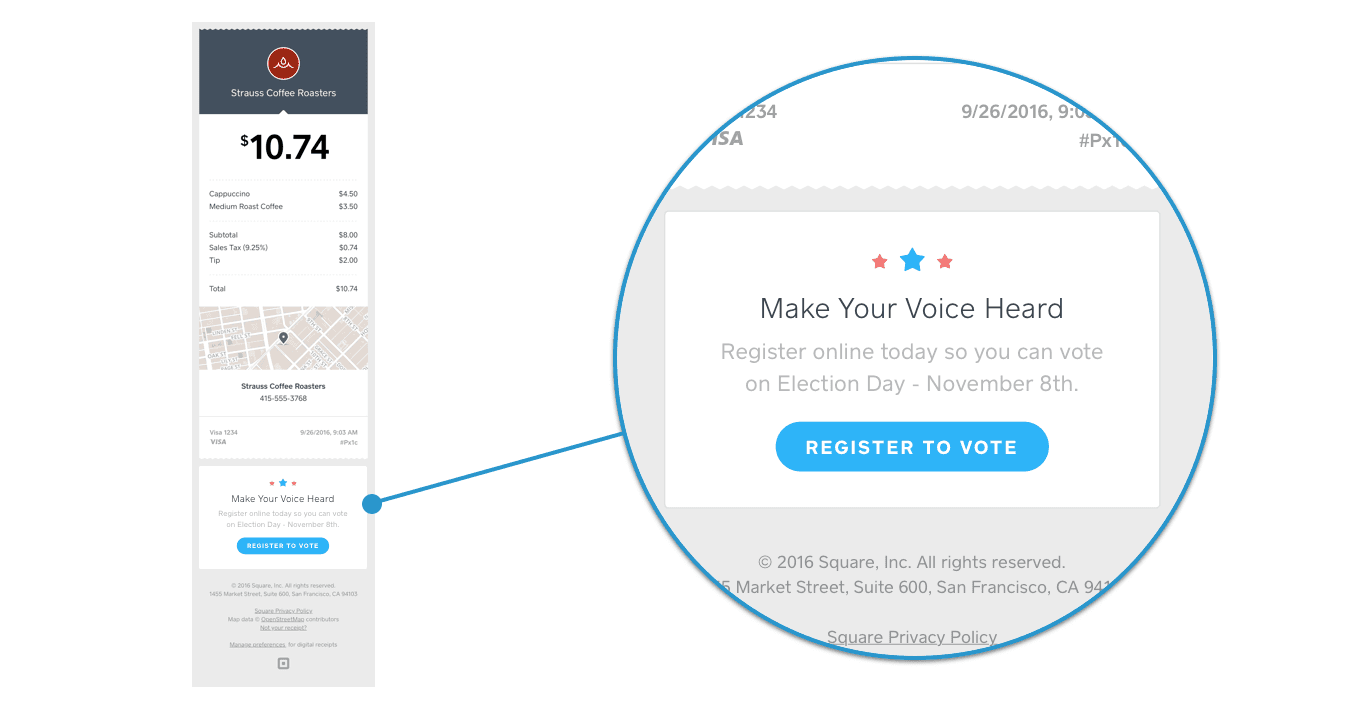Support Voter Registration With Square Receipts - Making receipts for customers